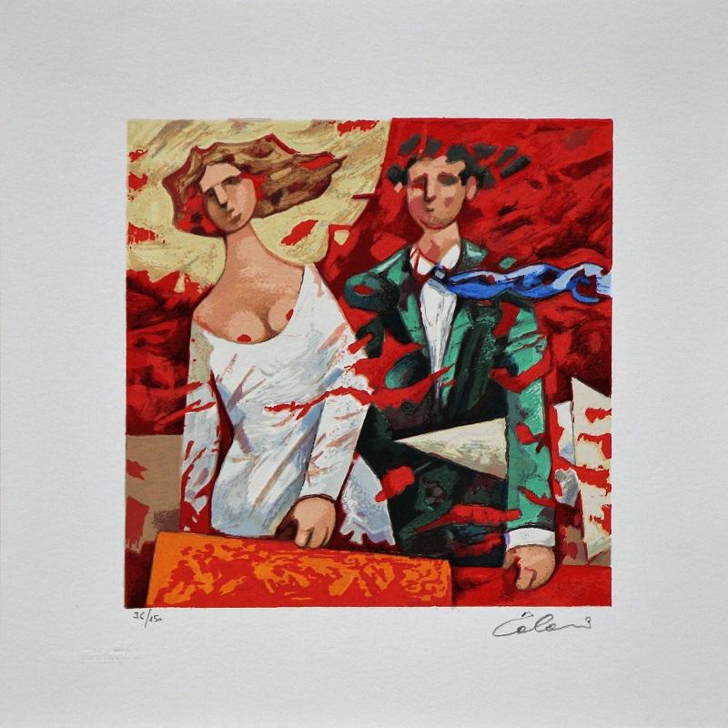 """Partenze rosse"" serigrafia polimaterica cm. 30x30"