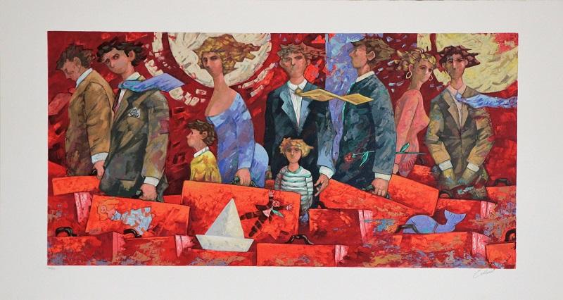 """Partenze rosse"" serigrafia polimaterica cm. 65x120"