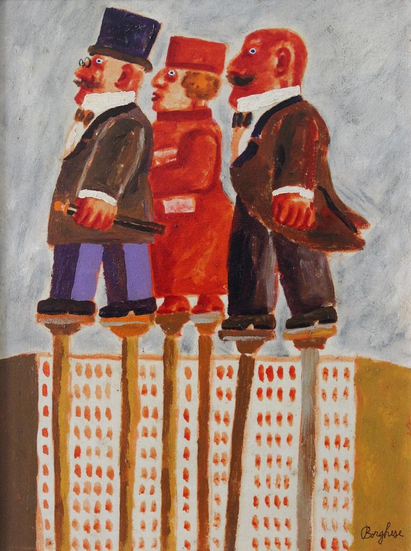 """Passeggiata"" dipinto su tela cm. 40x30  1993"