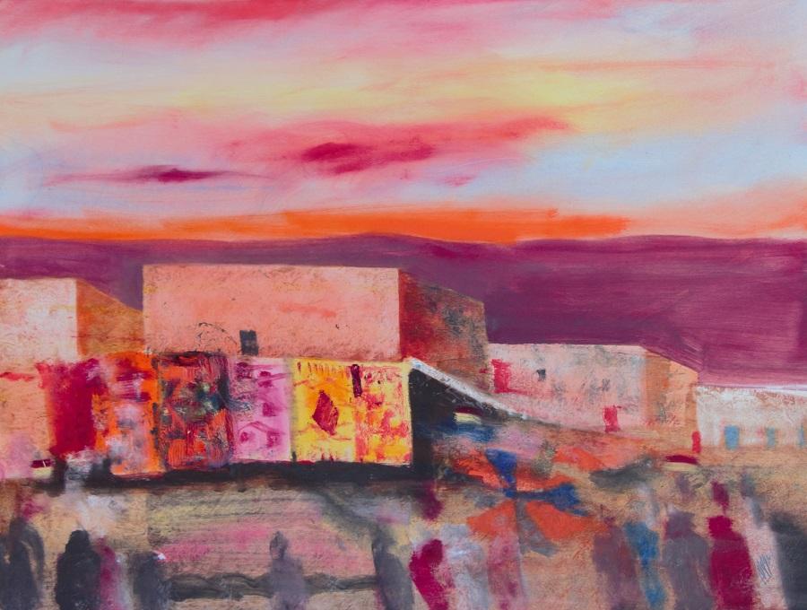 """""""Piazza dei tappeti a Marrakech"""" olio su tavola cm. 68x88"""