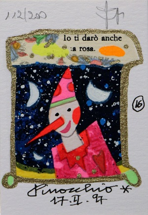 """""""Pinocchio"""" serigrafia polimaterica con interventi in glitter cm. 10x7"""