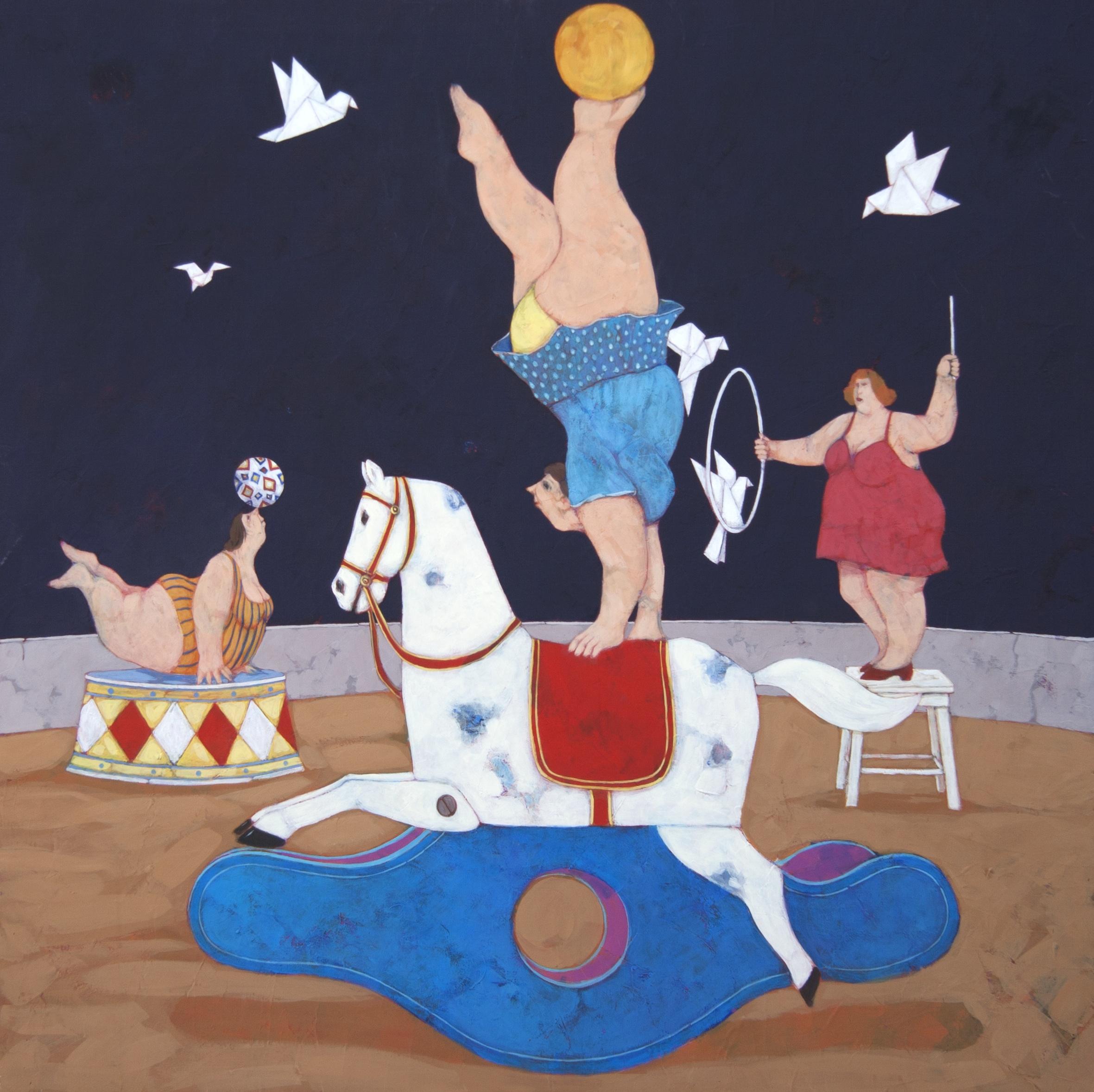 """""""Progetto per un circo alternativo"""" dipinto su tela cm. 90x90"""