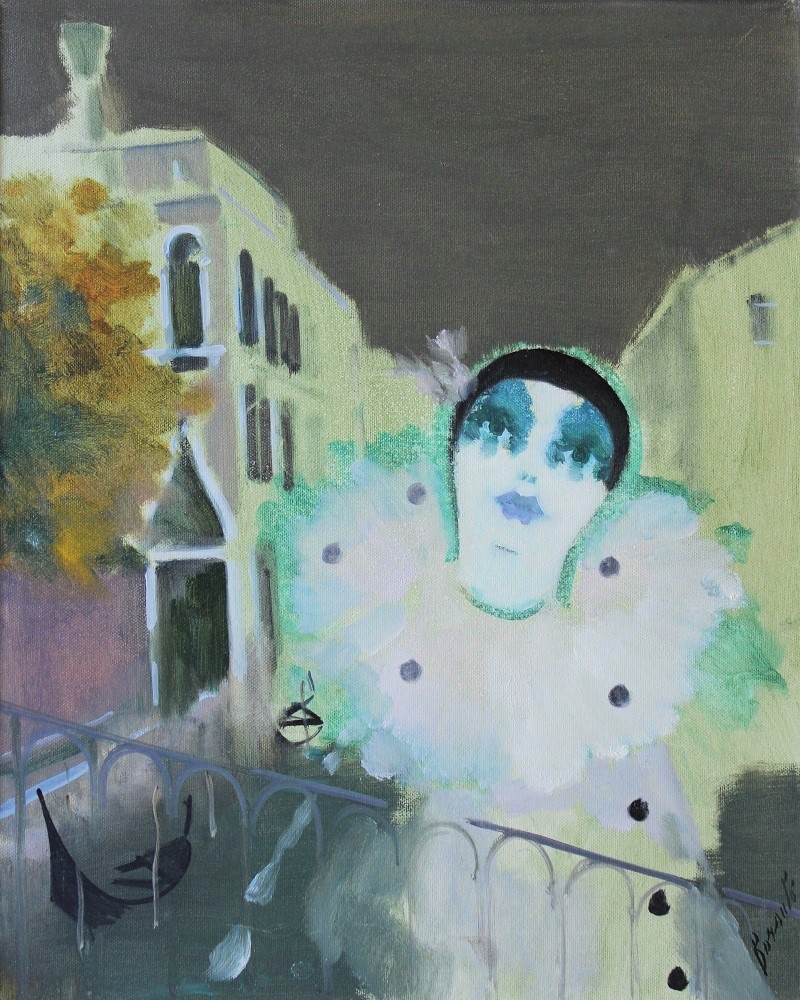 """""""Pierrot"""" dipinto su tela cm. 40x50  1993"""