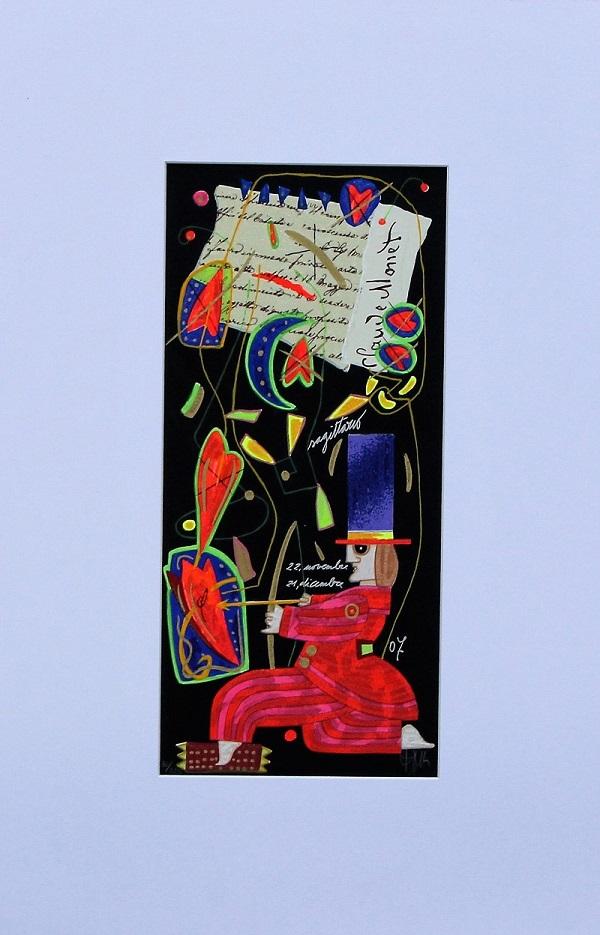 """""""Sagittario"""" serigrafia polimaterica con interventi in glitter cm.35x17"""