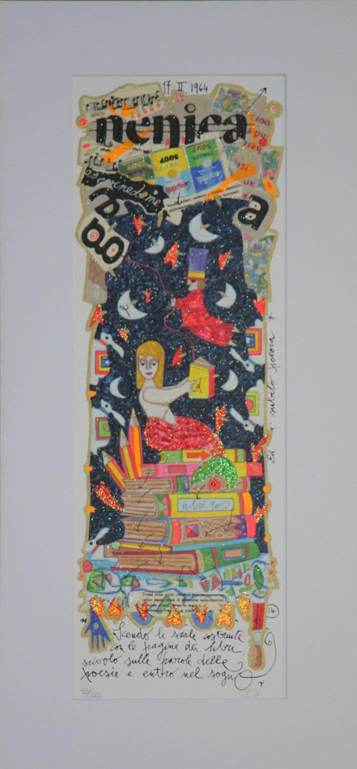 """""""Scendo le scale costruite con le pagine..."""" serigrafia polimaterica con interventi in glitter cm.17x50"""