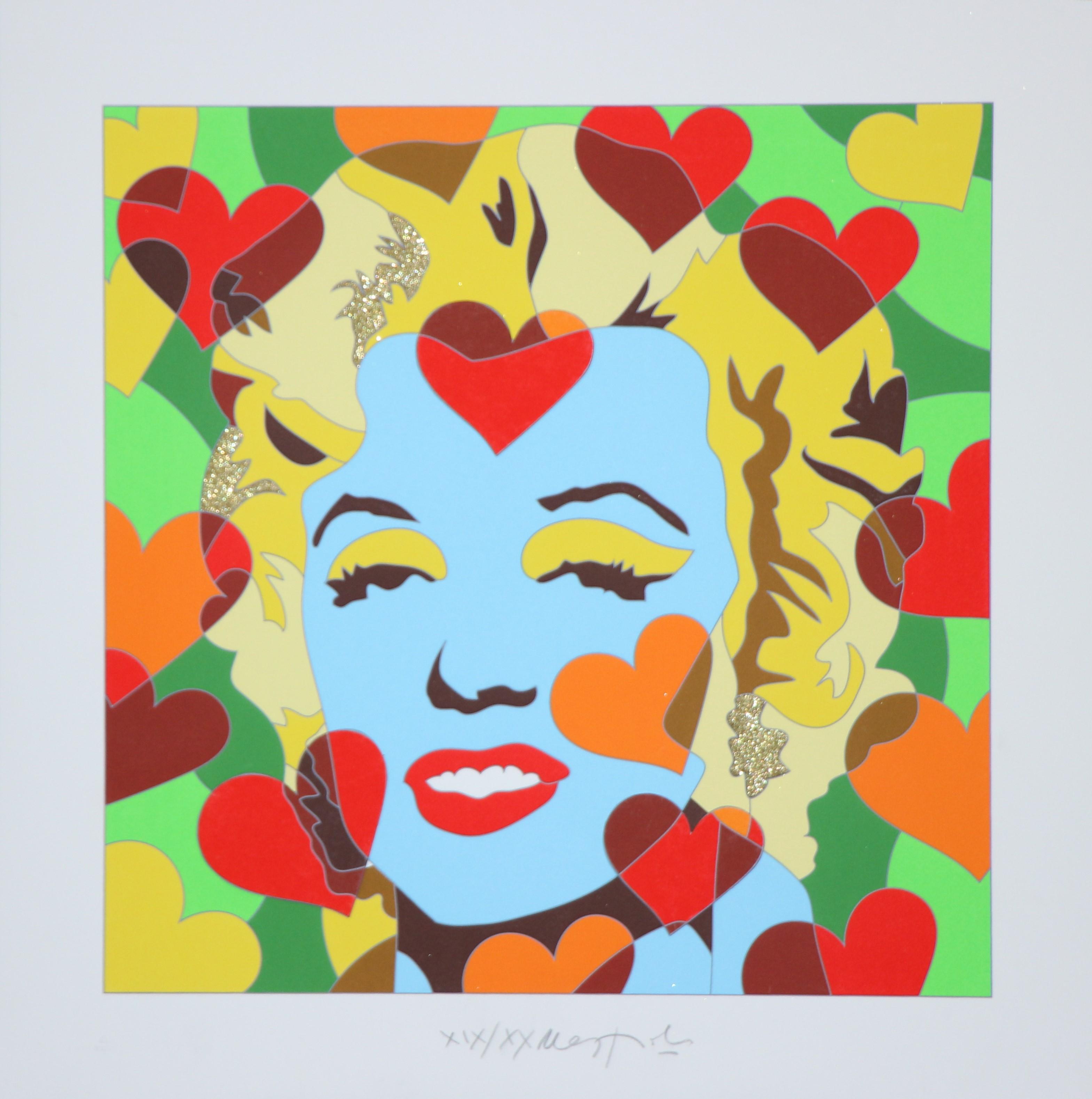 """""""Happy days"""" Serigrafia con interventi in glitter e collage cm. 50x50"""