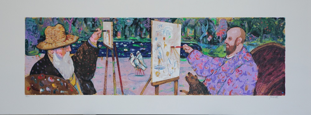 """A Giverny"" serigrafia polimaterica cm. 120x45"