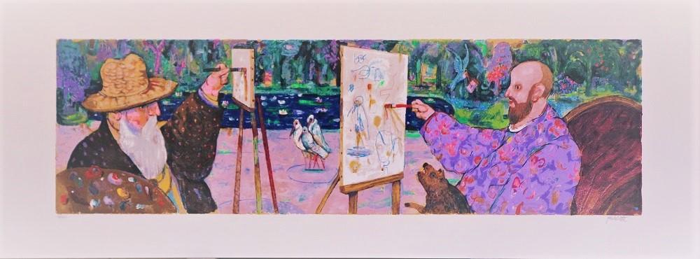 """A Giverny"" serigrafia polimaterica  cm.120x45"