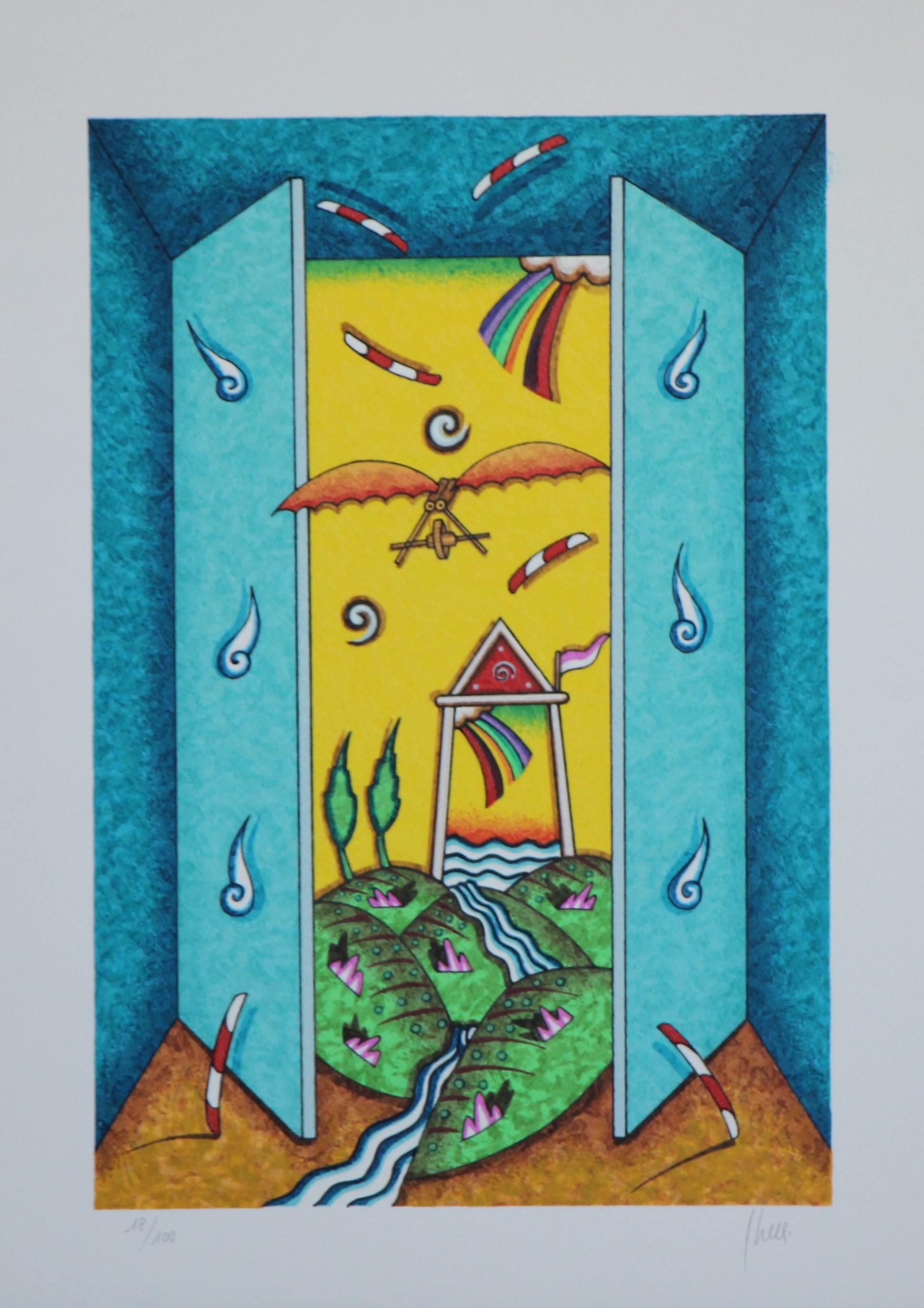 """""""La porta magica"""" serigrafia polimaterica cm. 50x35"""