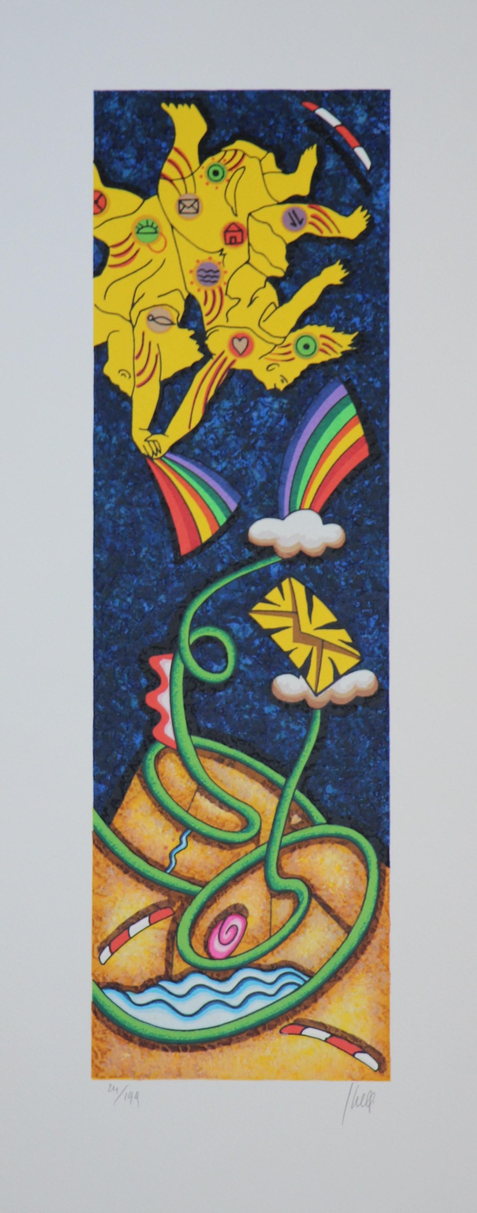 """""""Visita nella fantasia"""" serigrafia polimaterica cm. 25x62"""