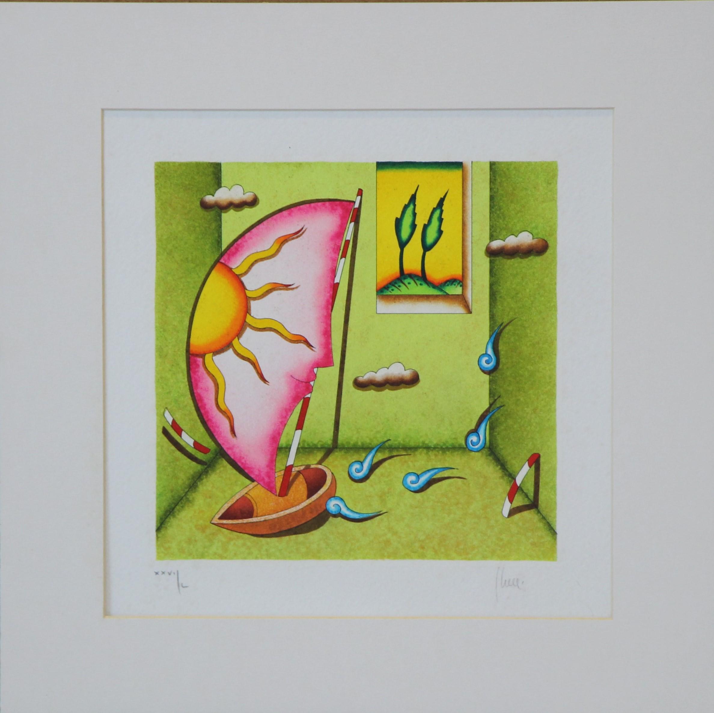"""""""La barca del mago"""" serigrafia polimaterica cm. 29x29"""