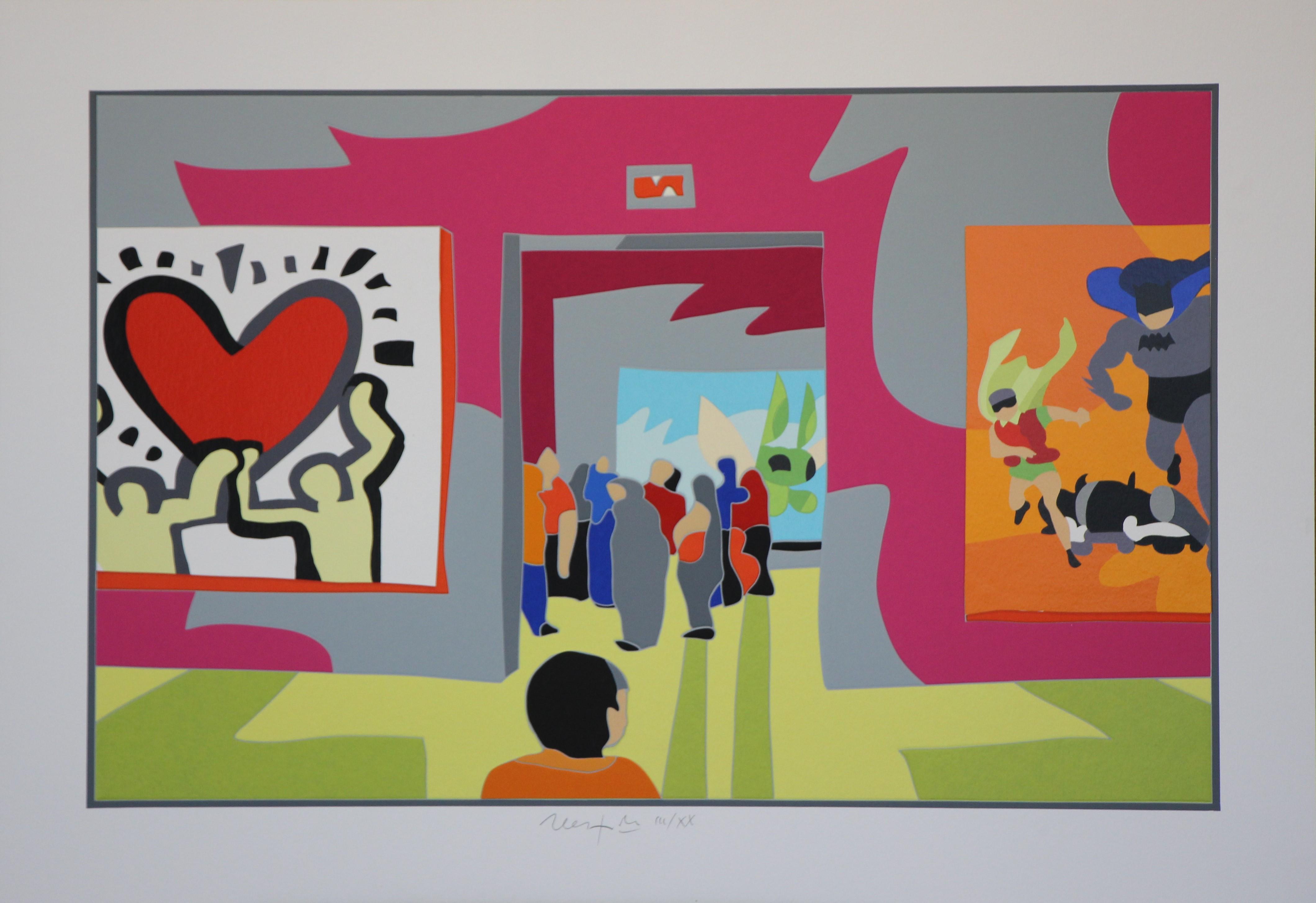 """""""Museum"""" Serigrafia con interventi in collage cm. 70x100"""