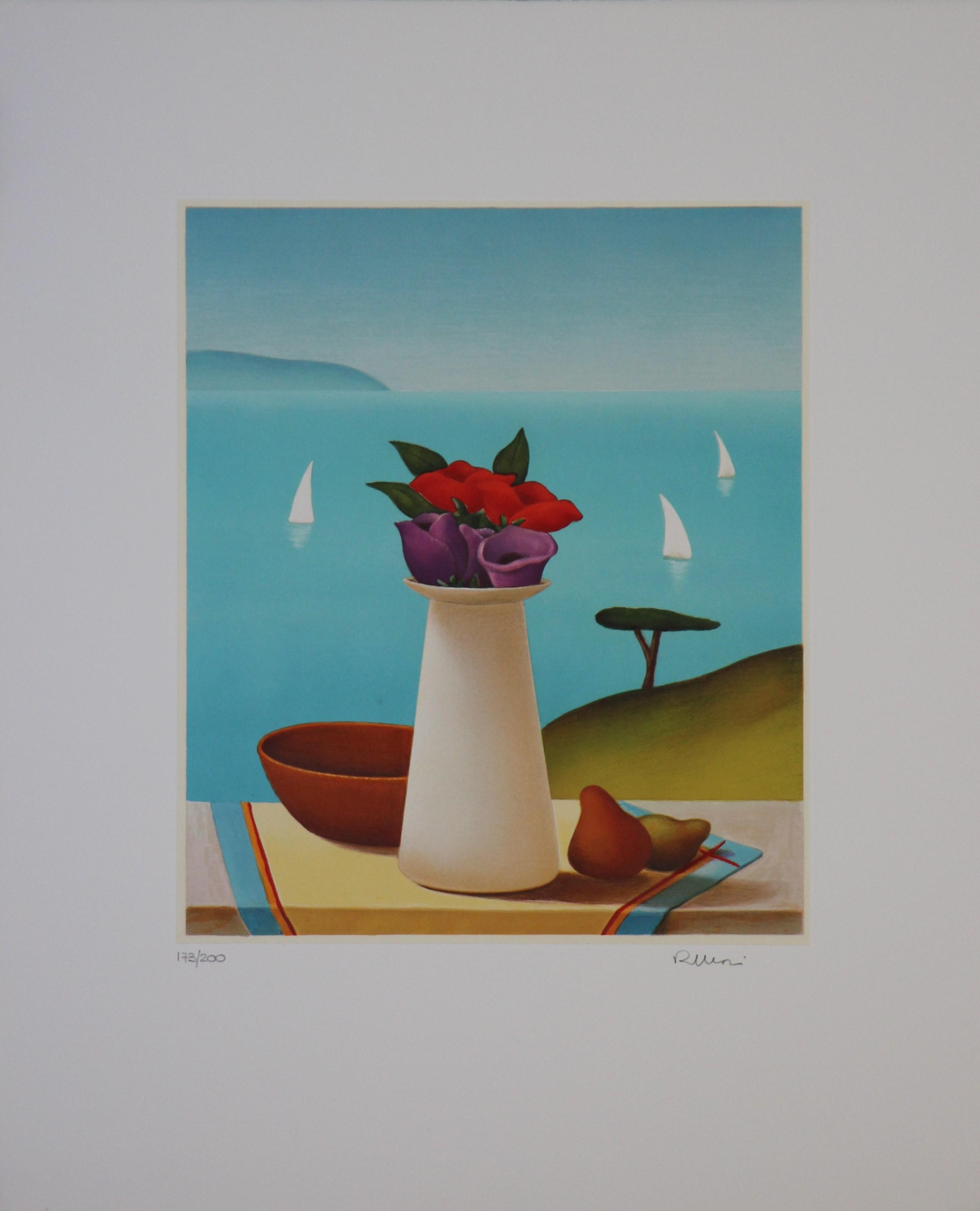 """""""Vaso bianco con fiori"""" serigrafia 40x50"""