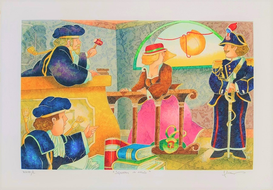 """Sguardi in aula"" serigrafia polimaterica cm. 35x50"