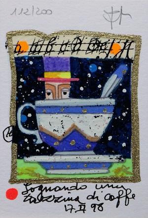 """""""Sognando una tazzina di caffè"""" serigrafia polimaterica con interventi in glitter cm. 10x7"""