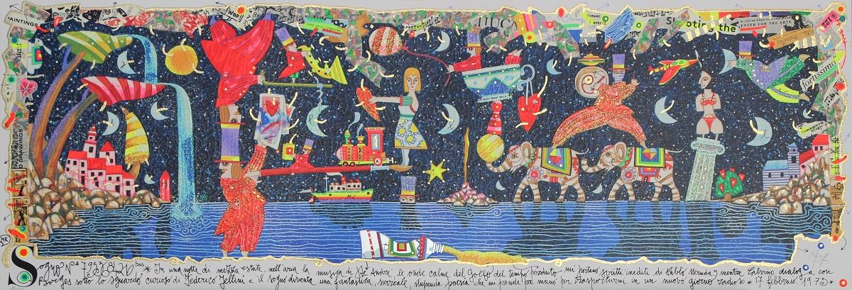 """""""Sogno di una notte di mezza estate"""" serigrafia polimaterica con glitter cm. 35x100"""