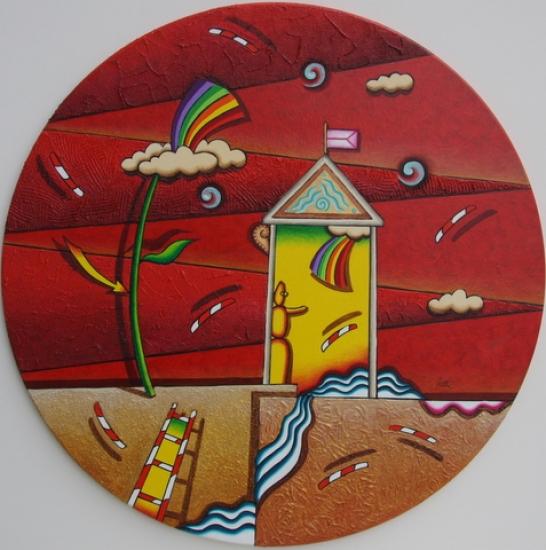 """""""Sogno in rosso"""" dipinto su tela diametro cm. 50"""