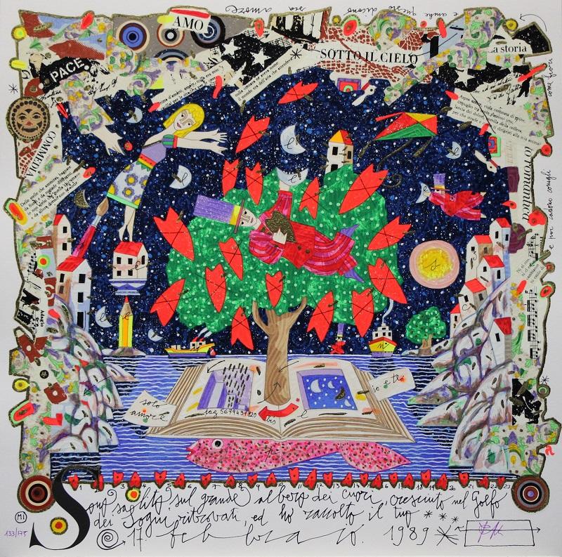 """""""Sono salito sul grande albero"""" serigrafia polimaterica cm. 50x50"""