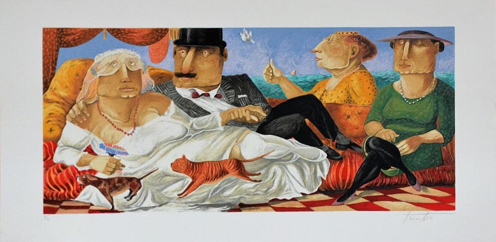 """Sposi di pantelleria"" serigrafia polimaterica cm. 60x120"