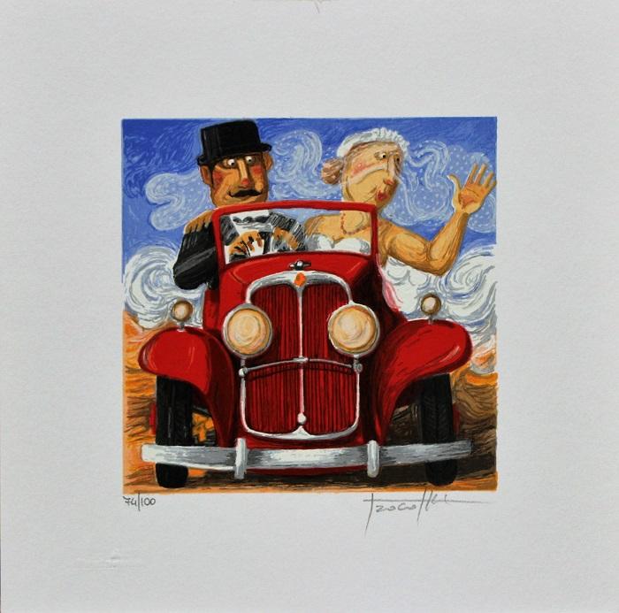 """""""Sposi in Bugatti"""" serigrafia polimaterica cm. 25x25"""