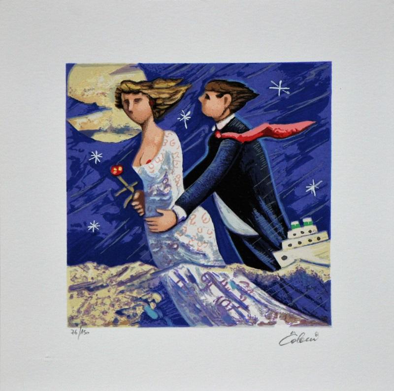 """""""Sposi marini"""" serigrafia polimaterica cm. 30x30"""