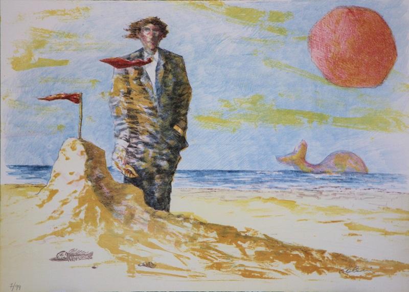 """""""Sulla spiaggia"""" litografia cm.50x70"""