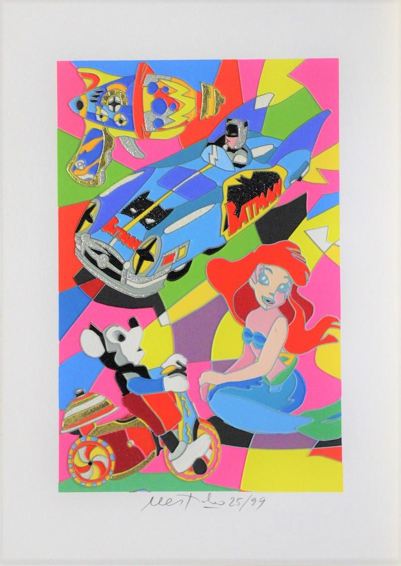 """""""Toy Time"""" serigrafia con interventi in glitter e foglia oro cm. 35x25"""