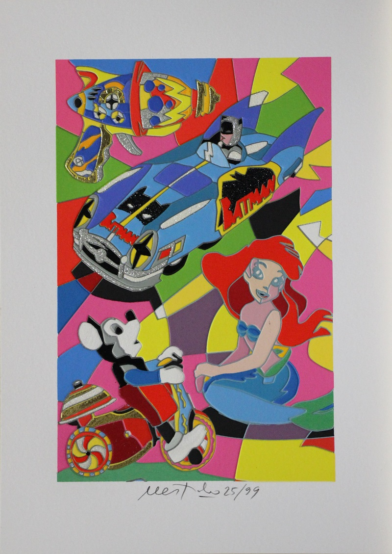 """""""Toy Time"""" serigrafia con intervento in glitter carborundum foglia oro e floccaggio cm. 35x25"""