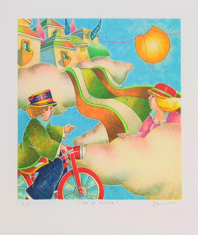 """""""Tra le nuvole"""" serigrafia polimaterica cm. 36x30"""