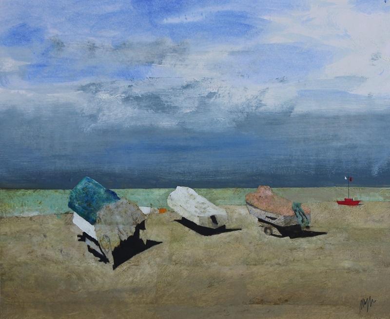 """""""Tre barche"""" olio su tavola cm. 51x61"""