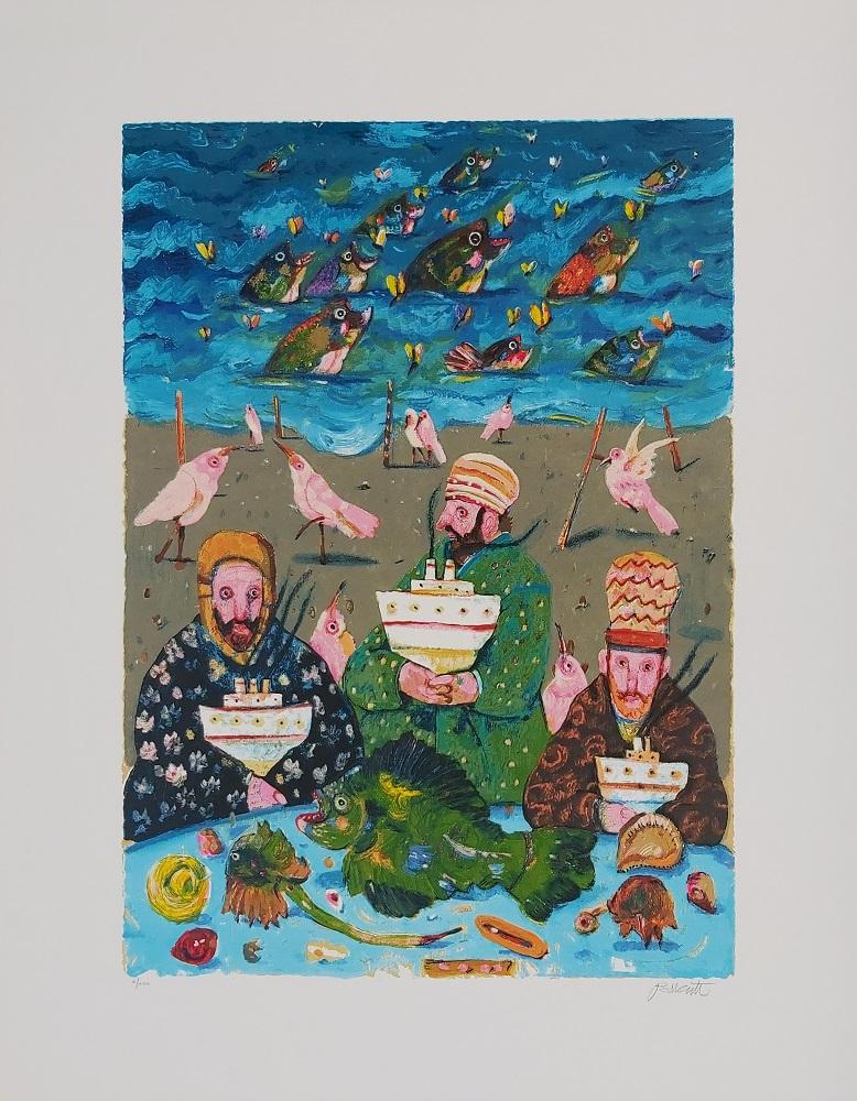 """Tre marinai"" serigrafia polimaterica cm. 70x90"