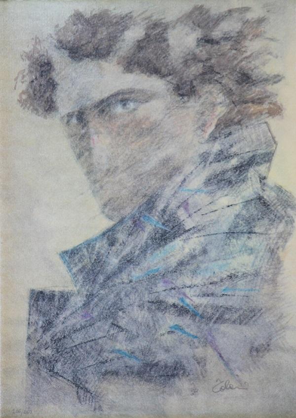 """""""Un uomo"""" litografia cm. 34x47"""