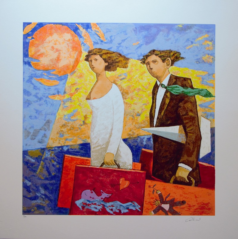 """""""Un viaggio"""" serigrafia polimaterica cm. 70x70"""