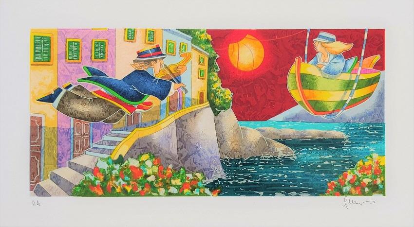 """""""Un violino per un sogno"""" serigrafia polimaterica cm. 25x45"""