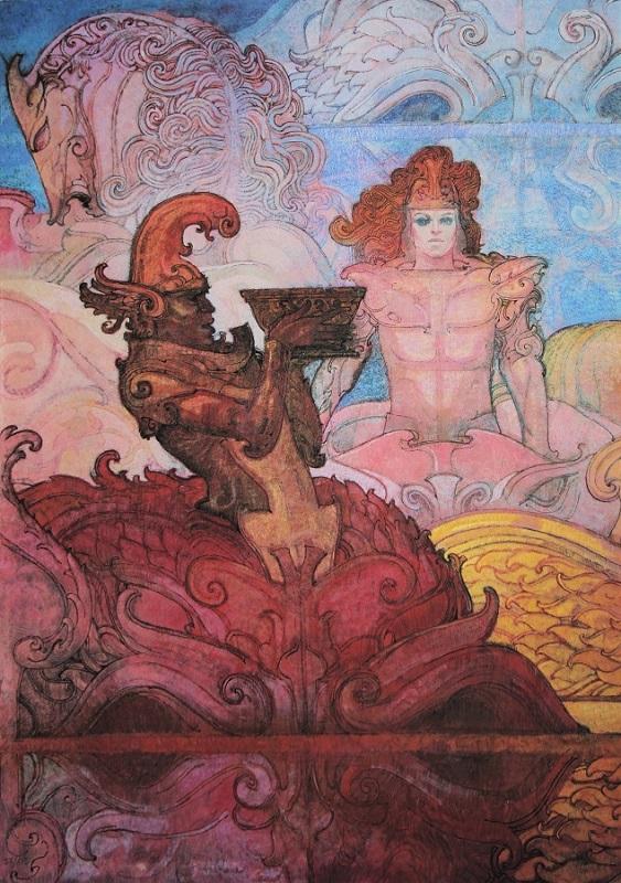 """""""Una favola di Esopo"""" litografia cm. 70x50"""