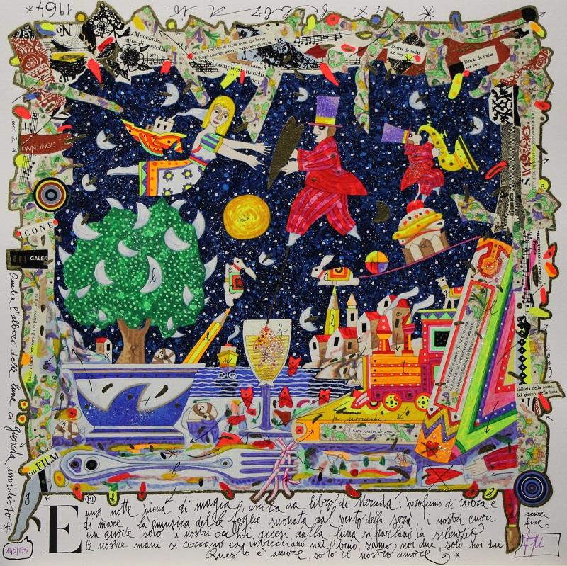 """""""Una notte piena di magia"""" serigrafia polimaterica cm. 50x50"""