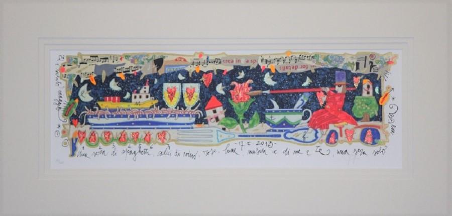 """""""Una sera di spaghetti..."""" serigrafia polimaterica con interventi in glitter cm.17x50"""