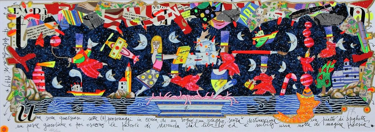"""""""Una sera qualsiasi"""" serigrafia polimaterica con interventi in glitter cm. 25x70"""