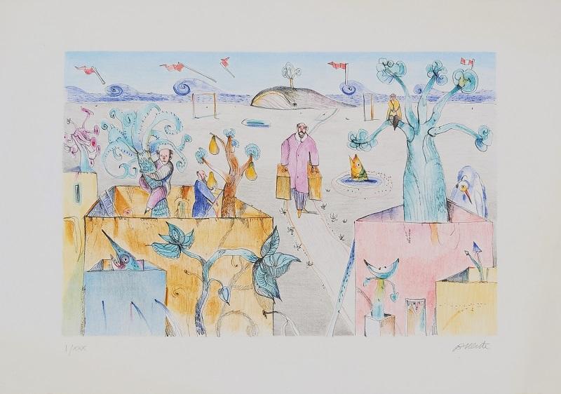 """""""Una spiaggia nascosta"""" litografia cm. 35x50"""