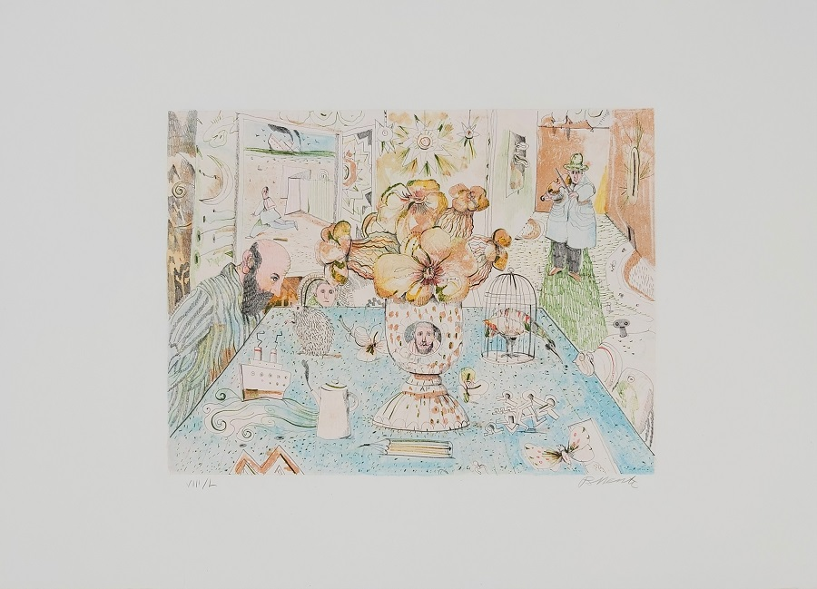 """Una stanza d'estate"" litografia cm. 50x70"