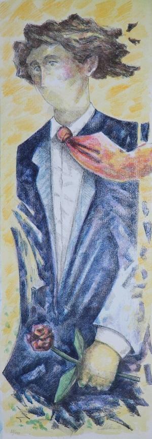 """""""Uomo con la rosa"""" litografia cm. 70x25"""