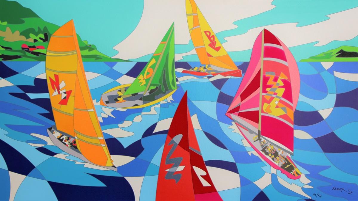 """""""Vele al vento"""" serigrafia su cartoncino con floccaggi e glitter cm. 80x140"""