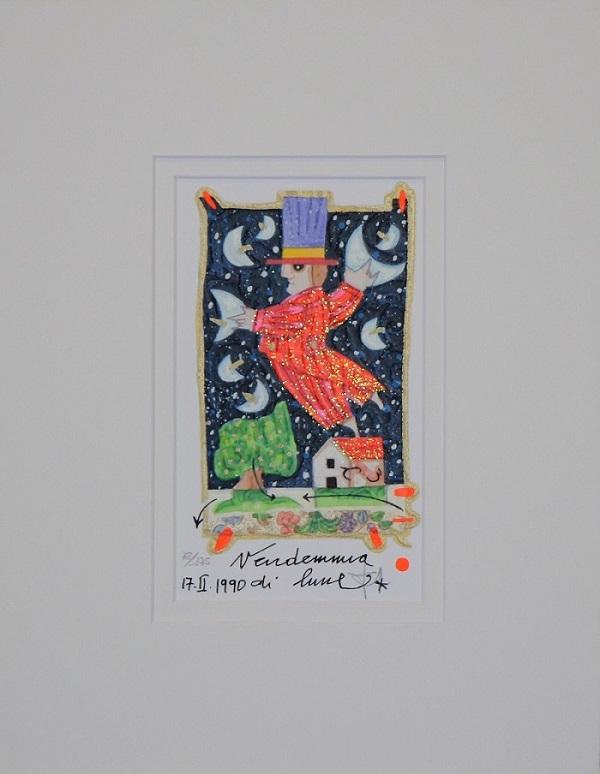 """""""Vendemmia di lune"""" serigrafia polimaterica con interventi in glitter  cm.17x11"""