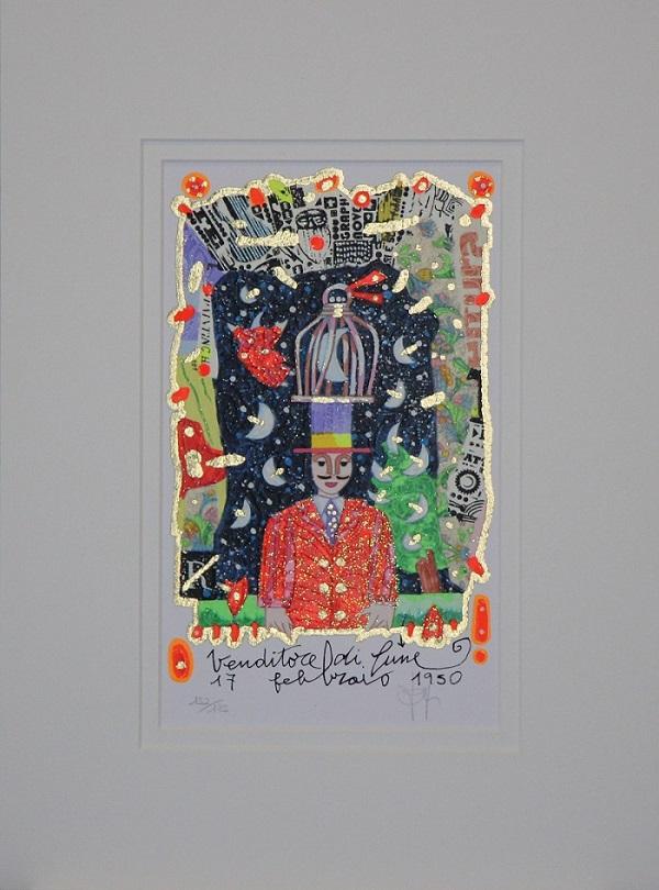 """""""Venditore di lune"""" serigrafia polimaterica con interventi in glitter cm.25x15"""