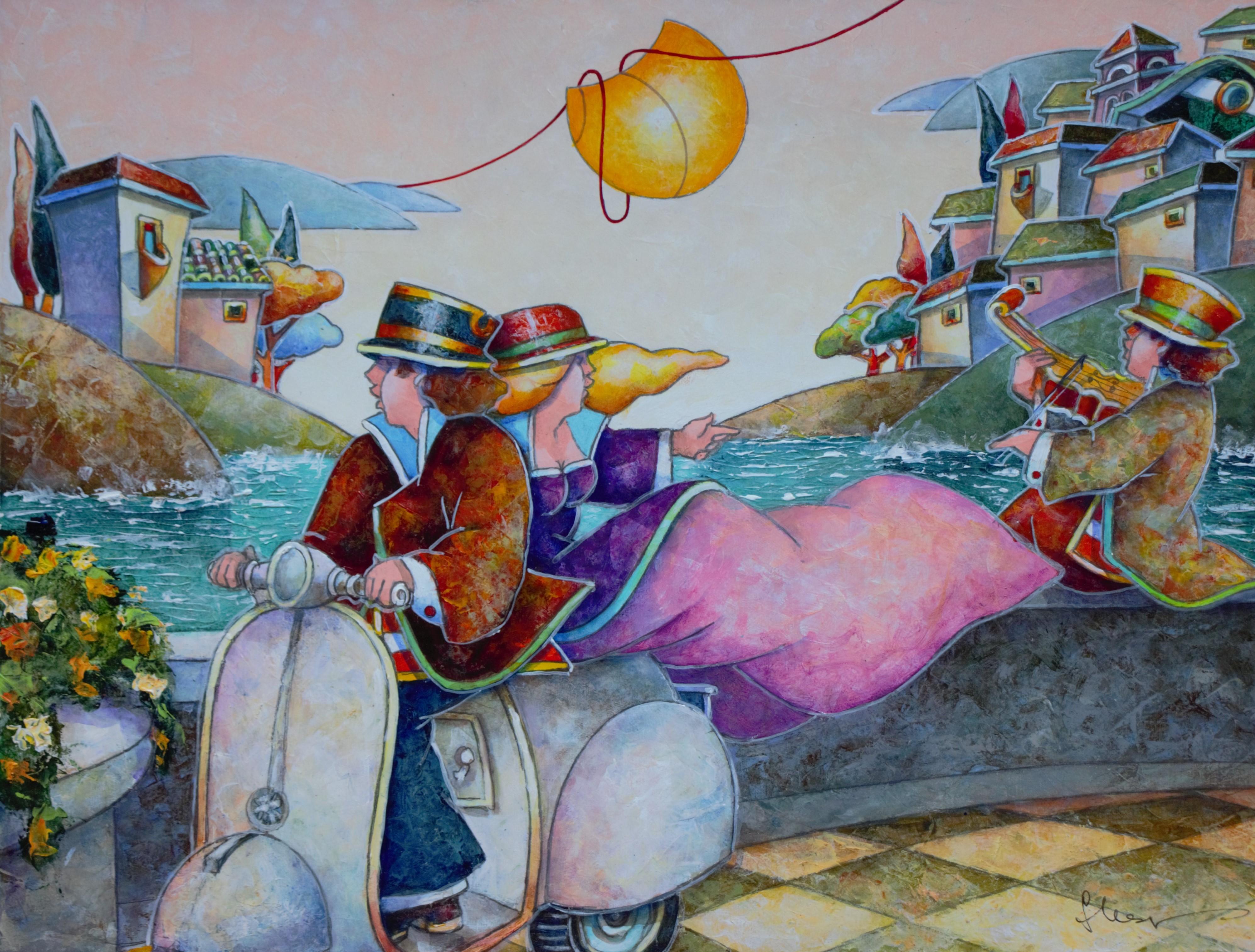 """""""Vespa, amore mio"""" dipinto su tavola cm. 40x30"""