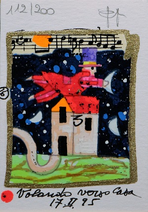 """""""Volando verso casa"""" serigrafia polimaterica con interventi in glitter cm. 10x7"""
