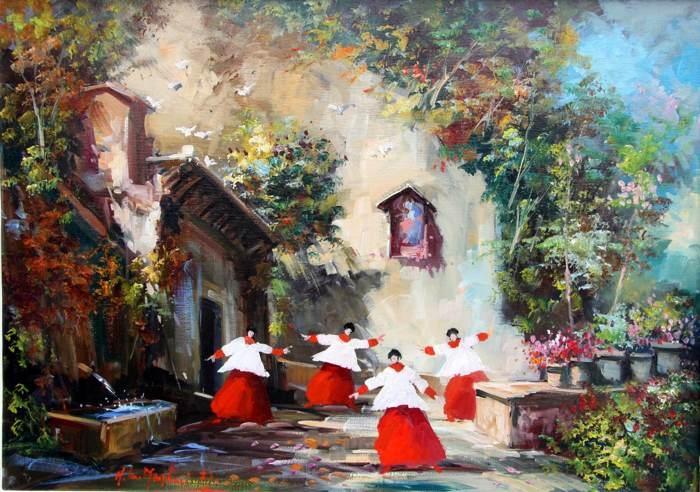 """""""Piccolo eremo in fiore"""" dipinto su tela cm. 50x70  2003"""