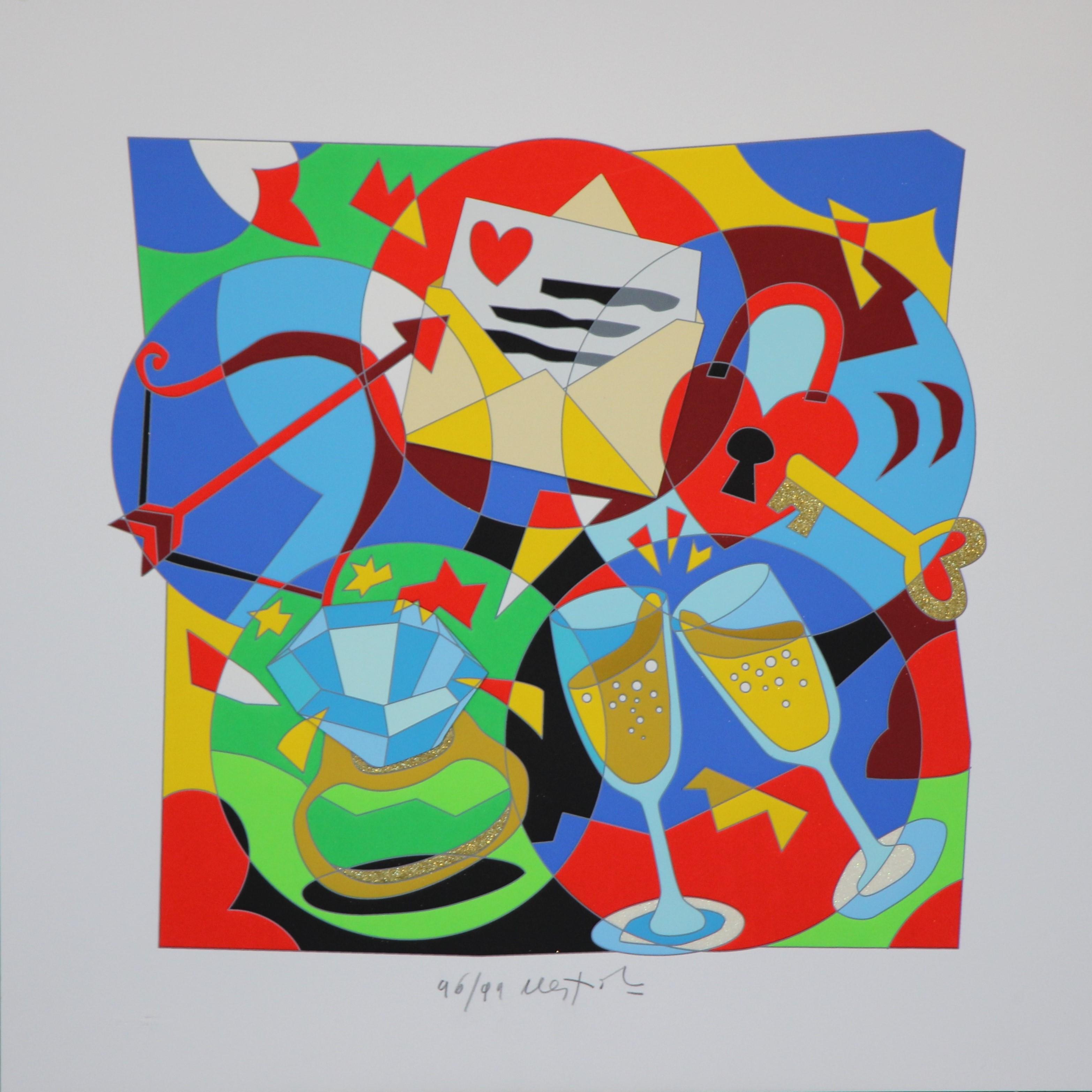 """""""Le ore serene"""" Serigrafia con interventi in glitter e collage cm.50 x50"""