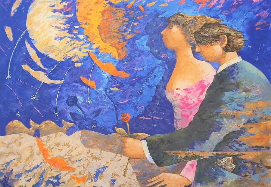 """""""Notte di San Lorenzo"""" serigrafia polimaterica con interventi in sabbia e floccaggio cm. 78x112"""
