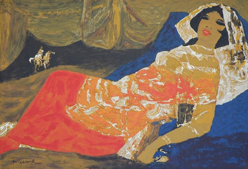 """""""Appuntamento sotto la tenda"""" serigrafia su broccato cm. 45x65"""